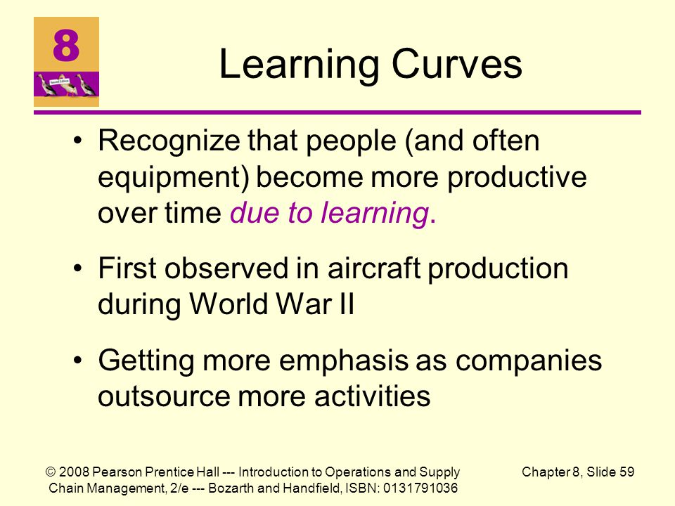 Learning Curves Recognize that people (and often equipment) become more productive over time due to learning.