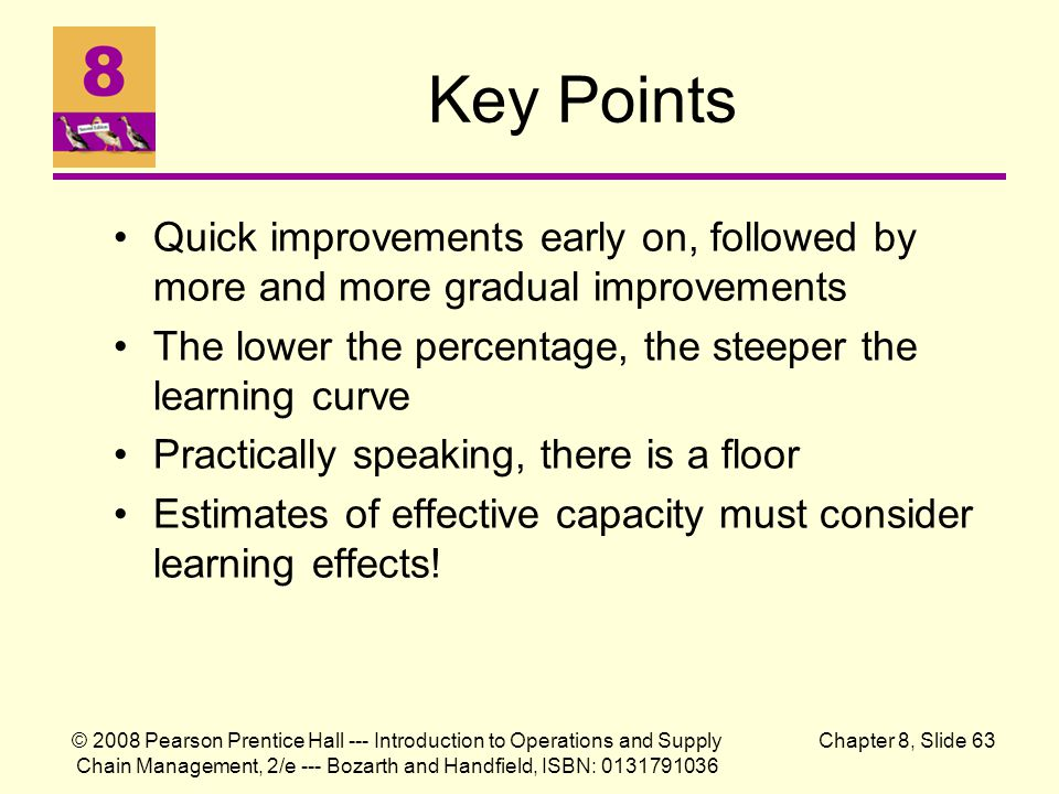 Key Points Quick improvements early on, followed by more and more gradual improvements. The lower the percentage, the steeper the learning curve.