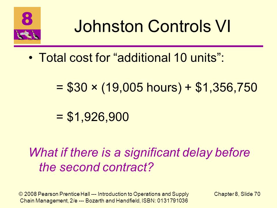 Johnston Controls VI Total cost for additional 10 units : = $30 × (19,005 hours) + $1,356,750 = $1,926,900.
