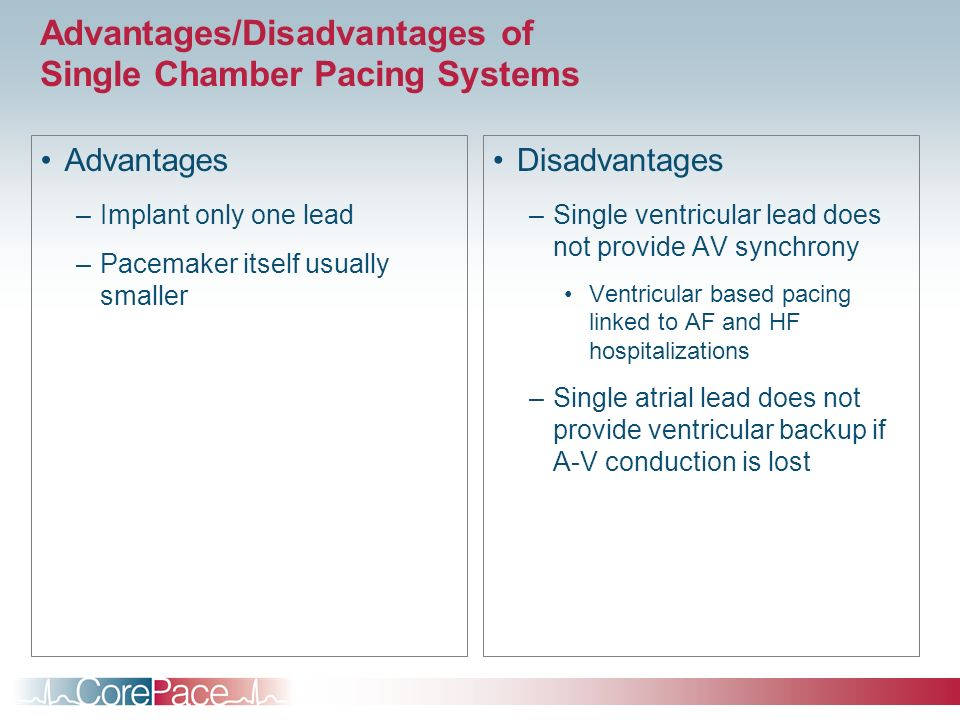Advantages/Disadvantages of Single Chamber Pacing Systems