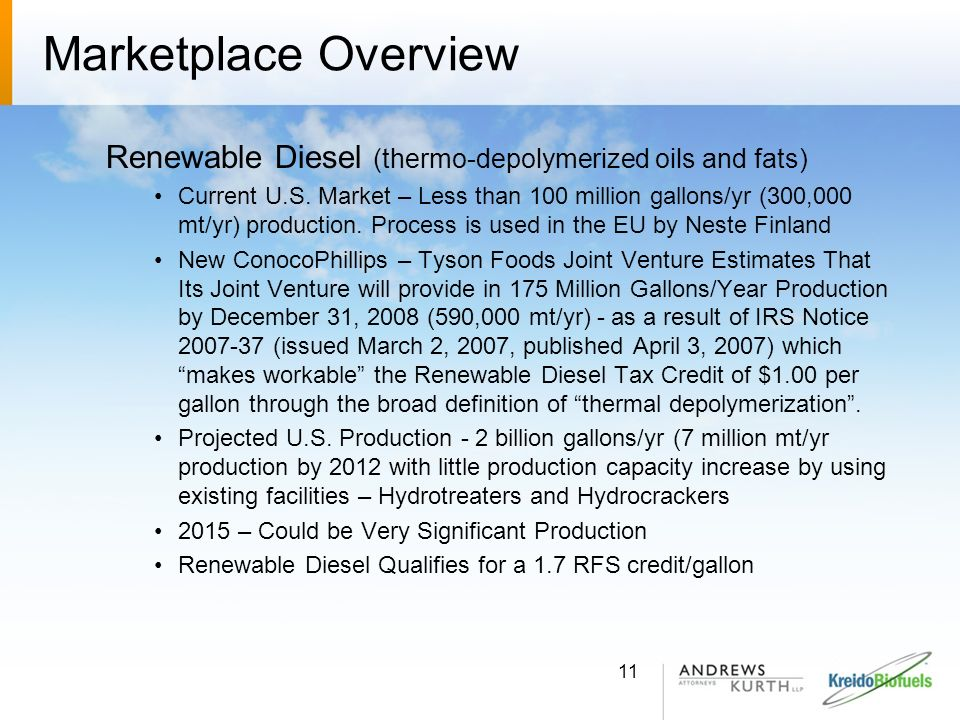 Marketplace Overview Renewable Diesel (thermo-depolymerized oils and fats)