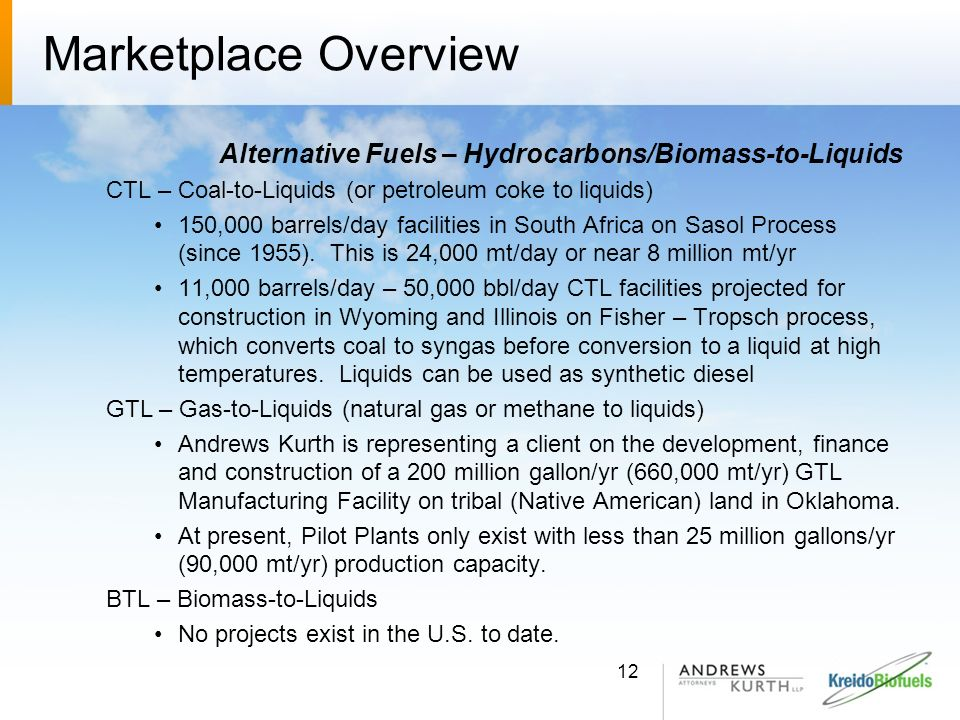Marketplace Overview Alternative Fuels – Hydrocarbons/Biomass-to-Liquids. CTL – Coal-to-Liquids (or petroleum coke to liquids)