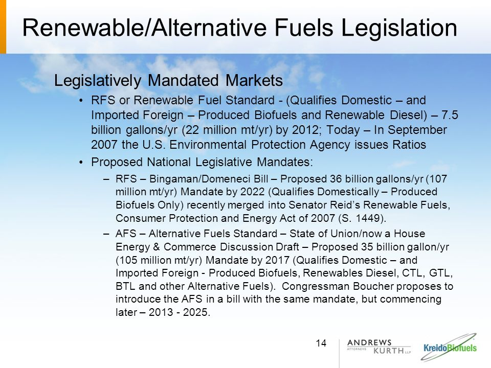 Renewable/Alternative Fuels Legislation