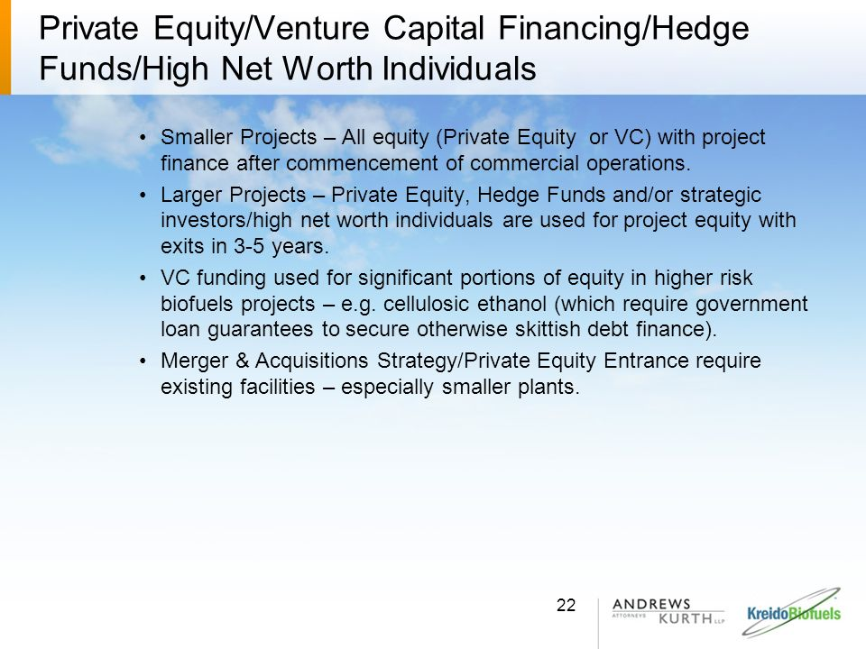 Private Equity/Venture Capital Financing/Hedge Funds/High Net Worth Individuals