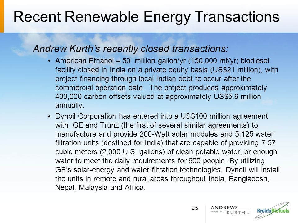 Recent Renewable Energy Transactions
