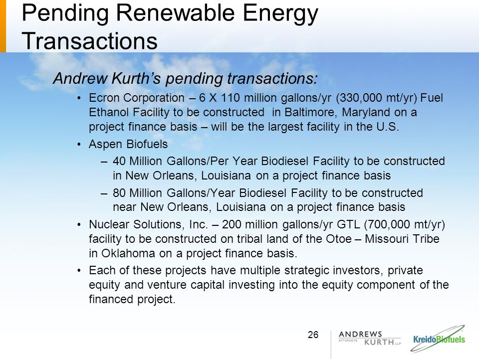 Pending Renewable Energy Transactions