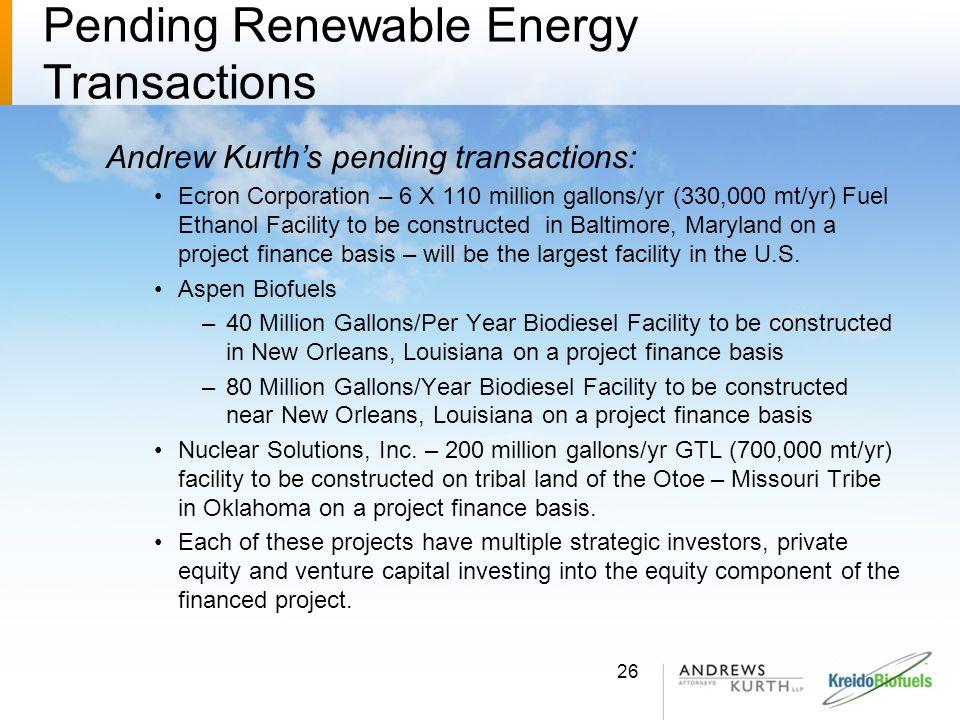 Pending Renewable Energy Transactions