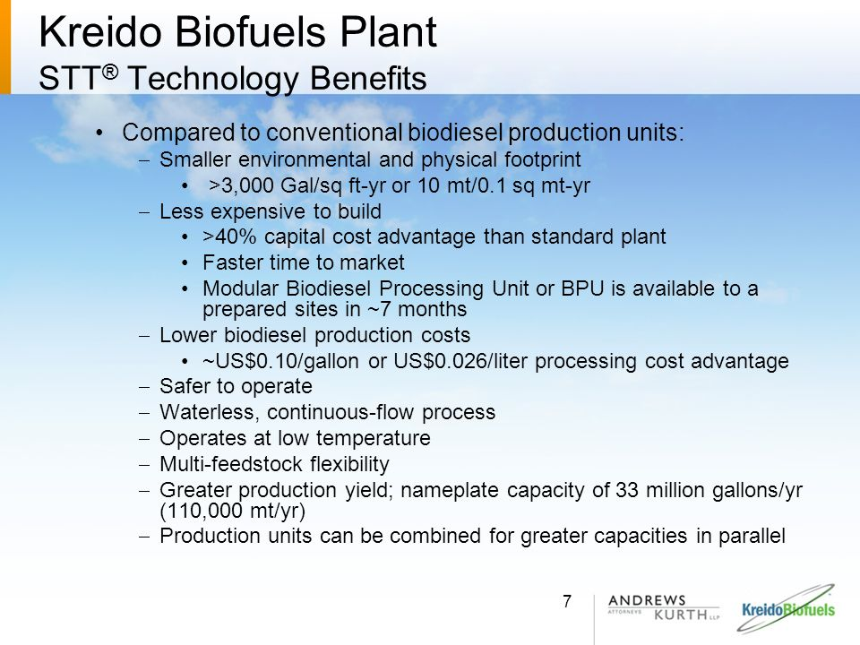 Kreido Biofuels Plant STT® Technology Benefits