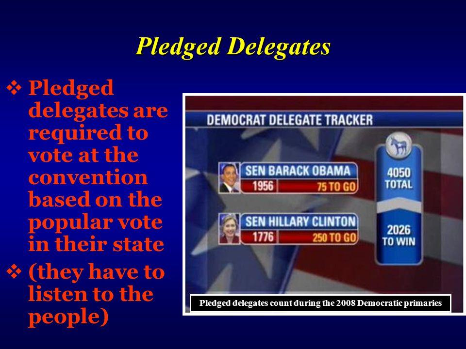 Pledged delegates count during the 2008 Democratic primaries