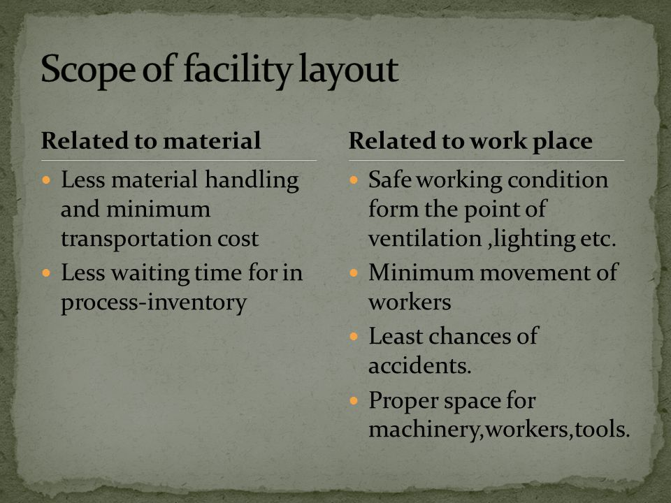 Scope of facility layout