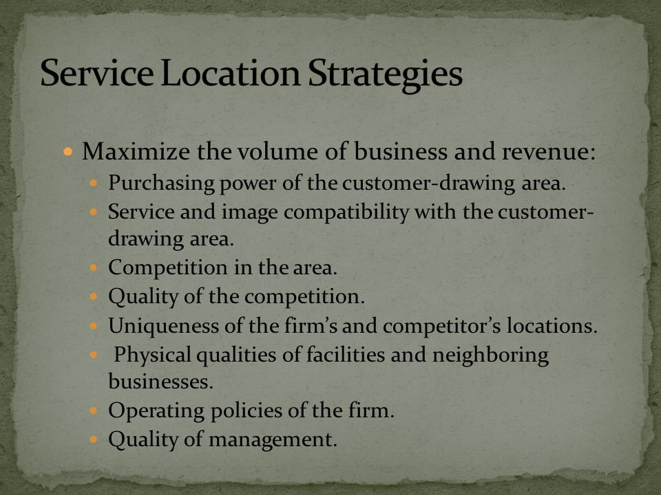 Service Location Strategies