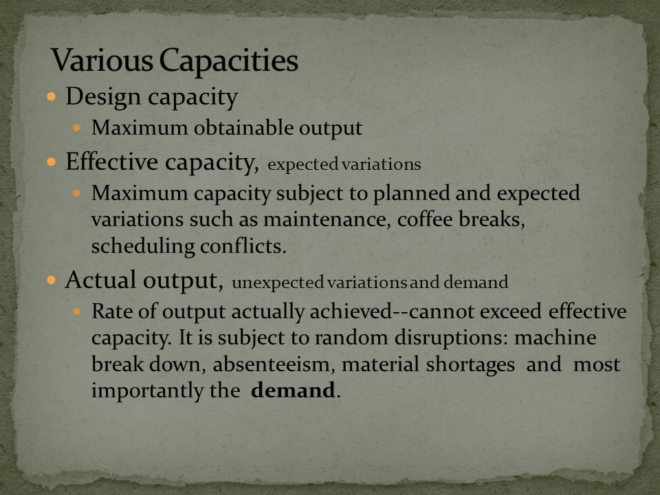 Various Capacities Design capacity
