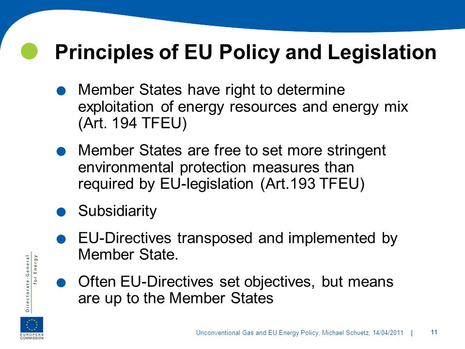 Principles of EU Policy and Legislation
