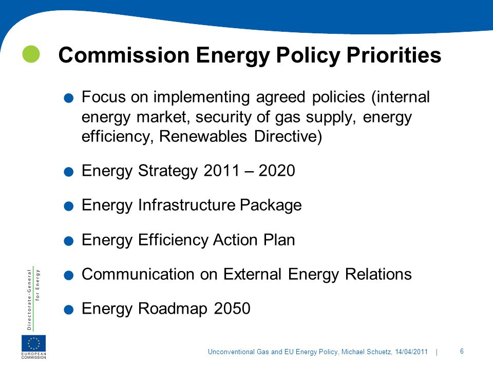 Commission Energy Policy Priorities