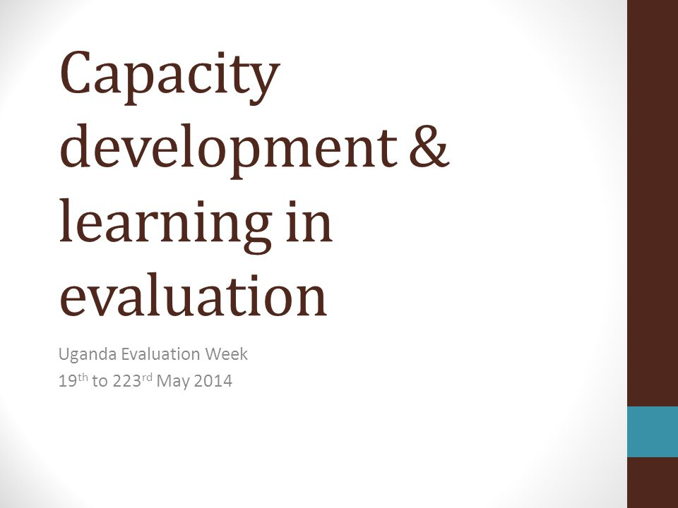 Capacity development & learning in evaluation