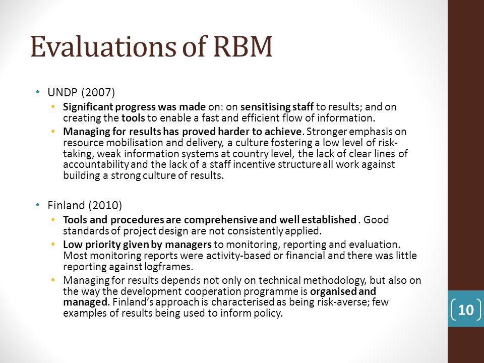 Evaluations of RBM UNDP (2007) Finland (2010)