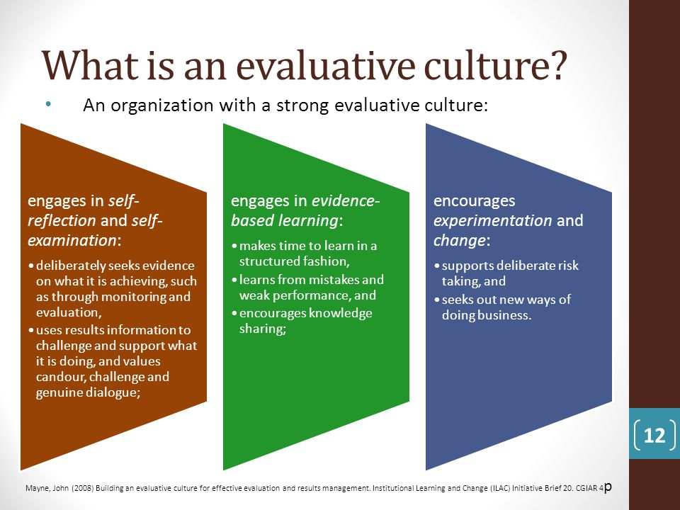 What is an evaluative culture