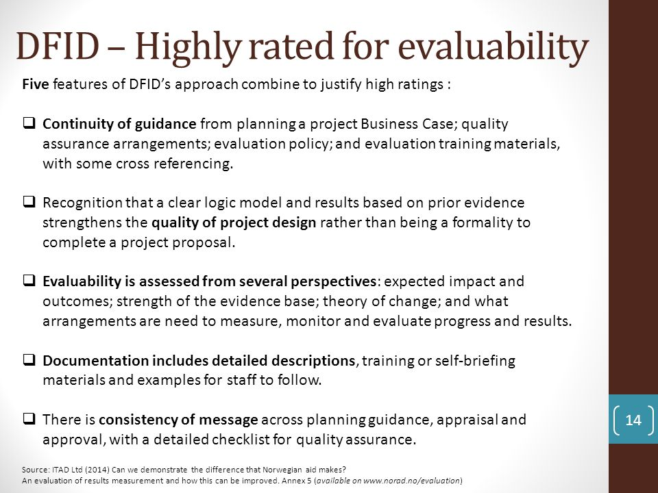 DFID – Highly rated for evaluability