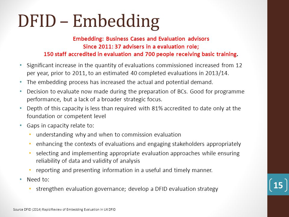 DFID – Embedding Embedding: Business Cases and Evaluation advisors