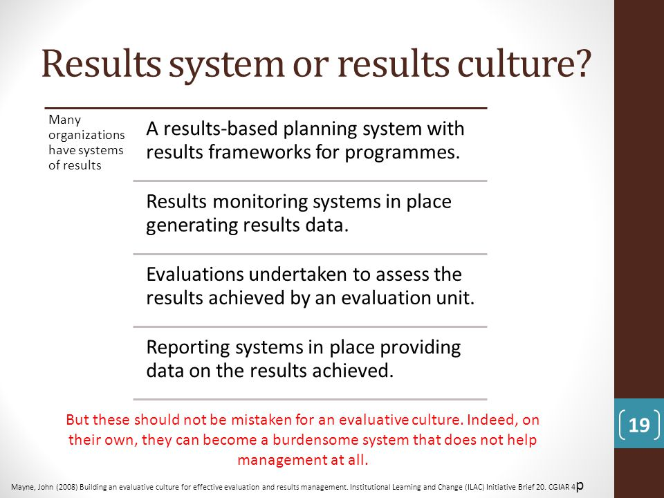 Results system or results culture