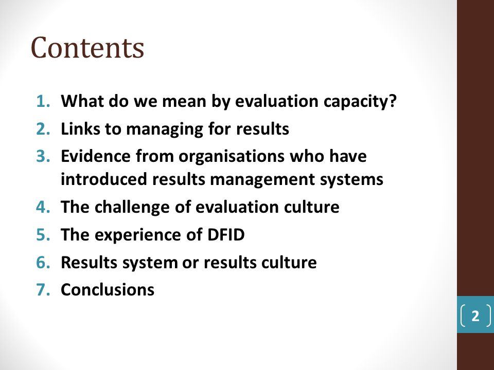 Contents What do we mean by evaluation capacity