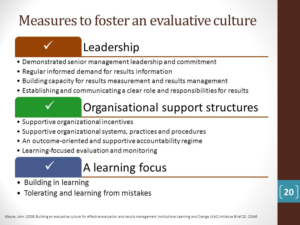 Measures to foster an evaluative culture