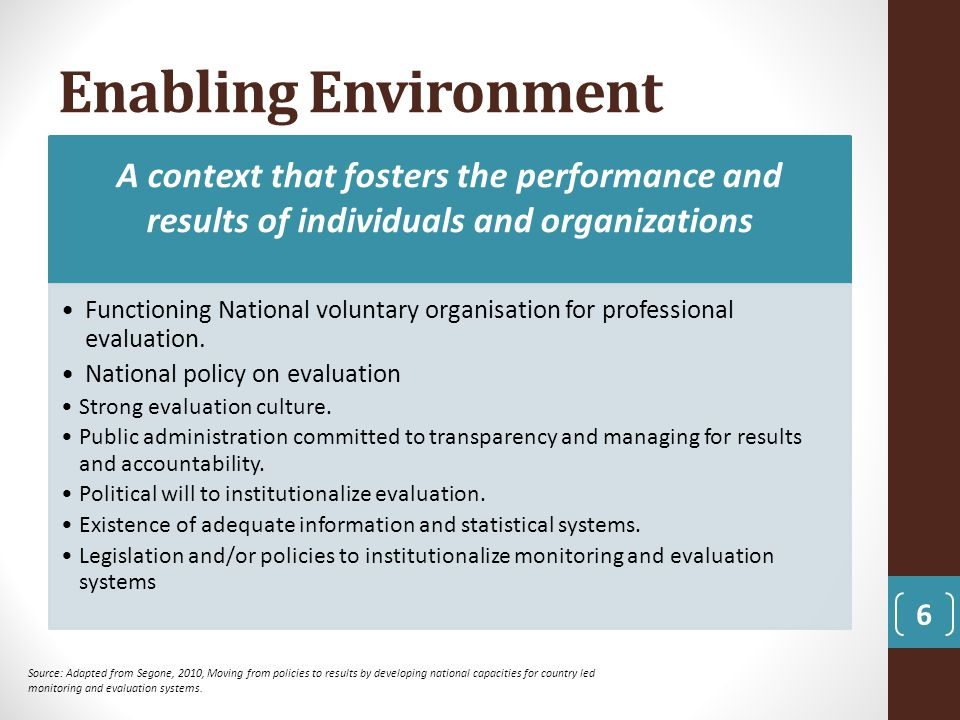 Enabling Environment A context that fosters the performance and results of individuals and organizations.