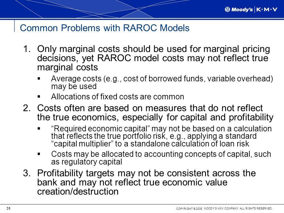 Common Problems with RAROC Models
