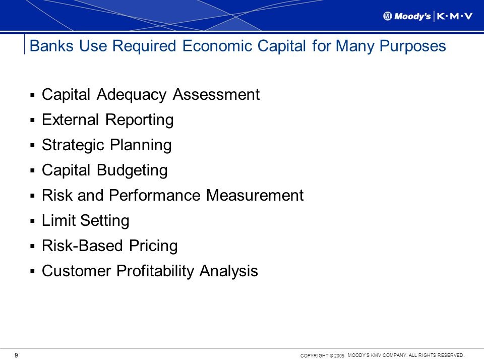 Banks Use Required Economic Capital for Many Purposes
