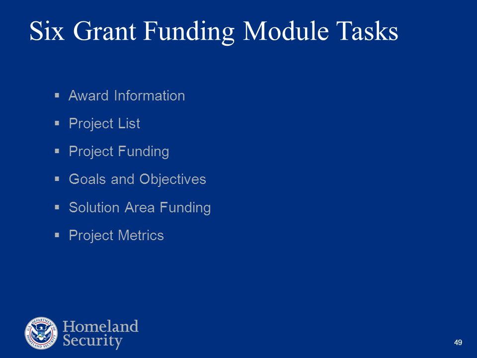 Six Grant Funding Module Tasks