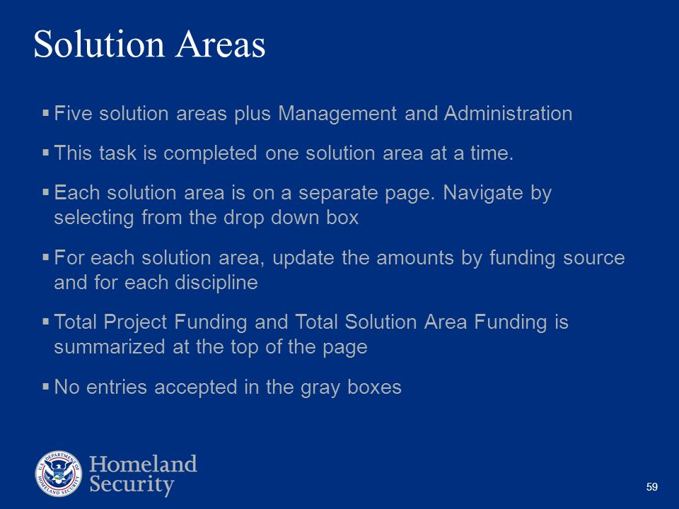 Solution Areas Five solution areas plus Management and Administration