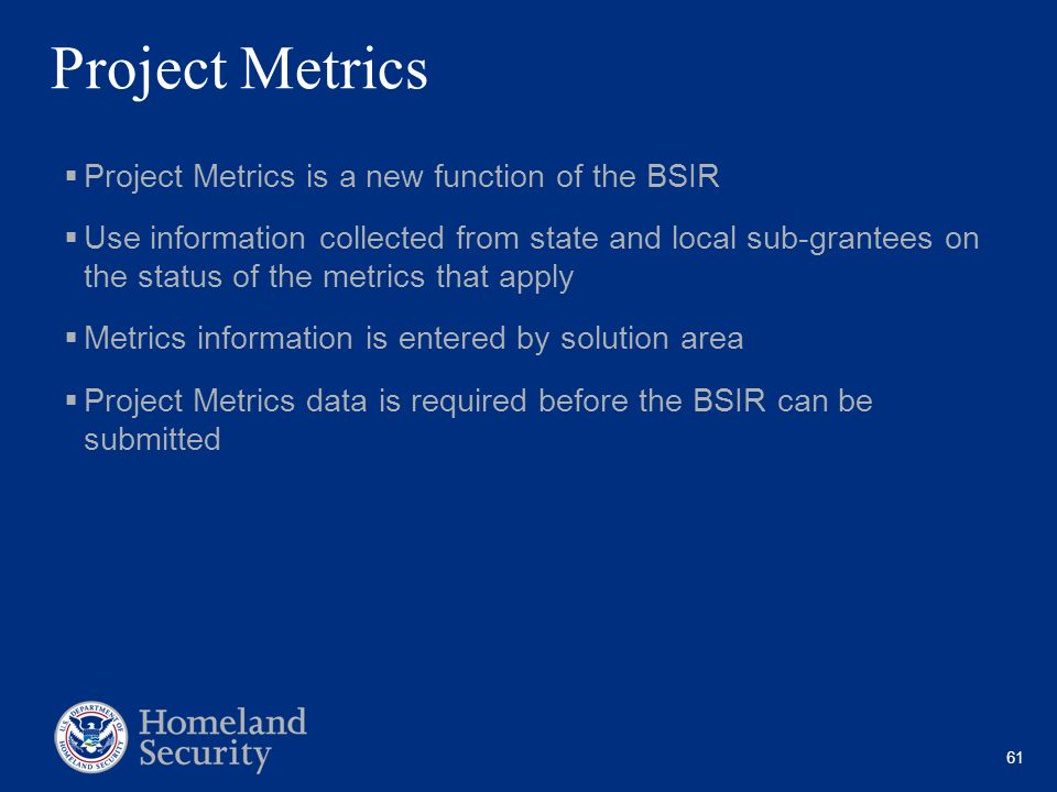 Project Metrics Project Metrics is a new function of the BSIR