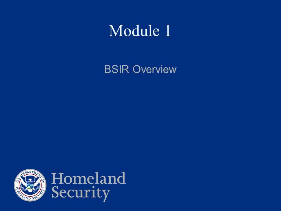 Module 1 BSIR Overview