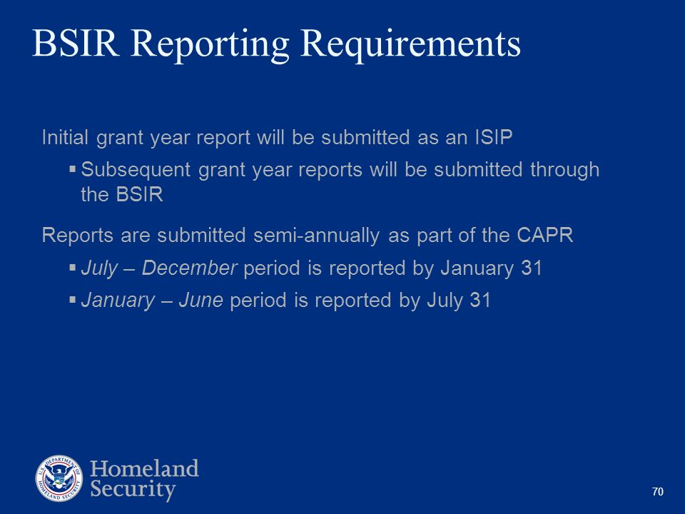 BSIR Reporting Requirements