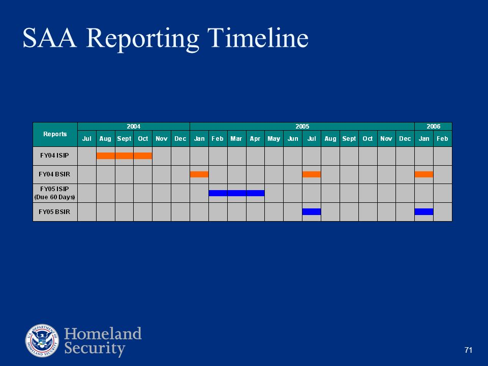 SAA Reporting Timeline
