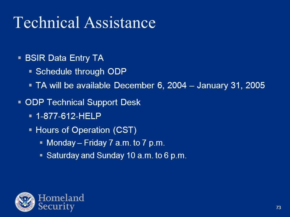 Technical Assistance BSIR Data Entry TA Schedule through ODP