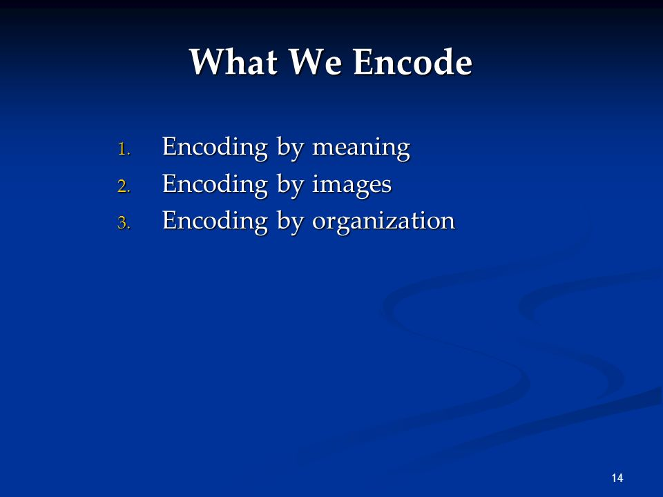 What We Encode Encoding by meaning Encoding by images