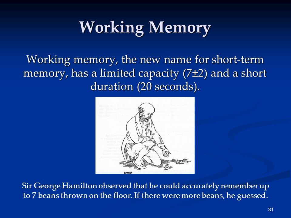 Working Memory Working memory, the new name for short-term memory, has a limited capacity (7±2) and a short duration (20 seconds).