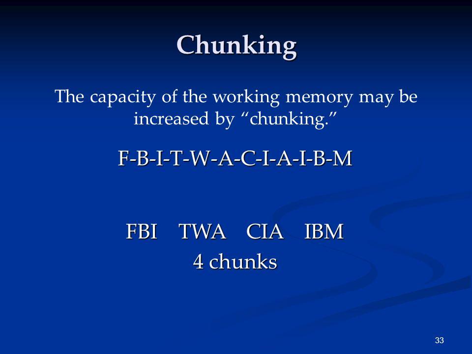Chunking F-B-I-T-W-A-C-I-A-I-B-M FBI TWA CIA IBM 4 chunks