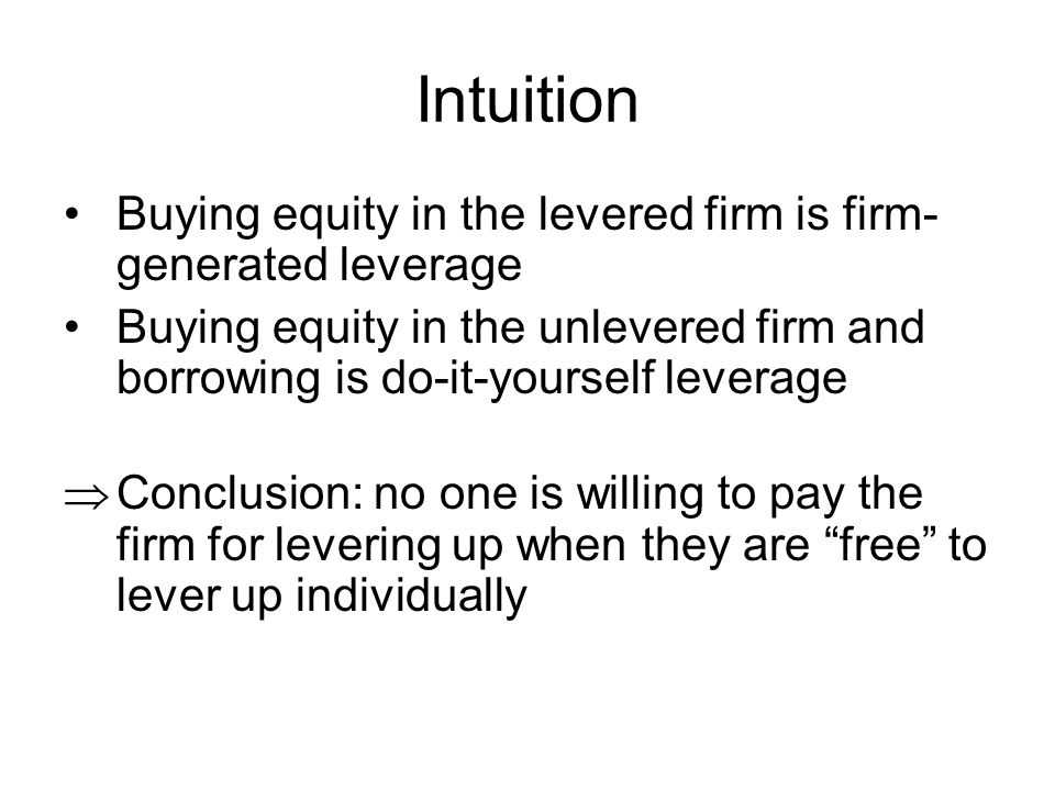 Intuition Buying equity in the levered firm is firm-generated leverage