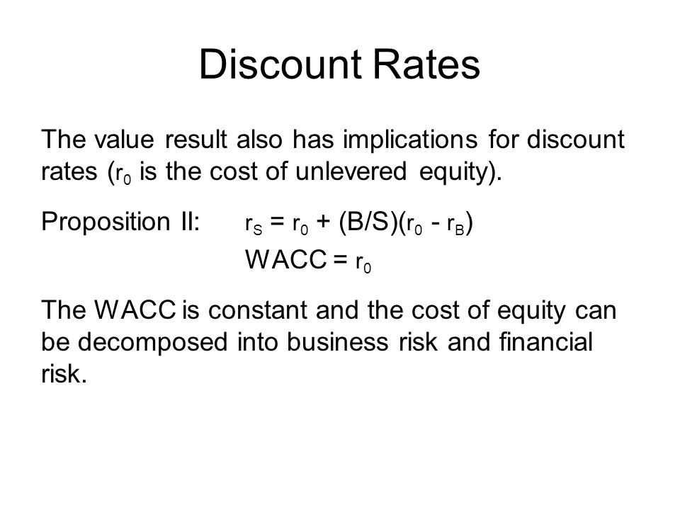 Discount Rates The value result also has implications for discount rates (r0 is the cost of unlevered equity).