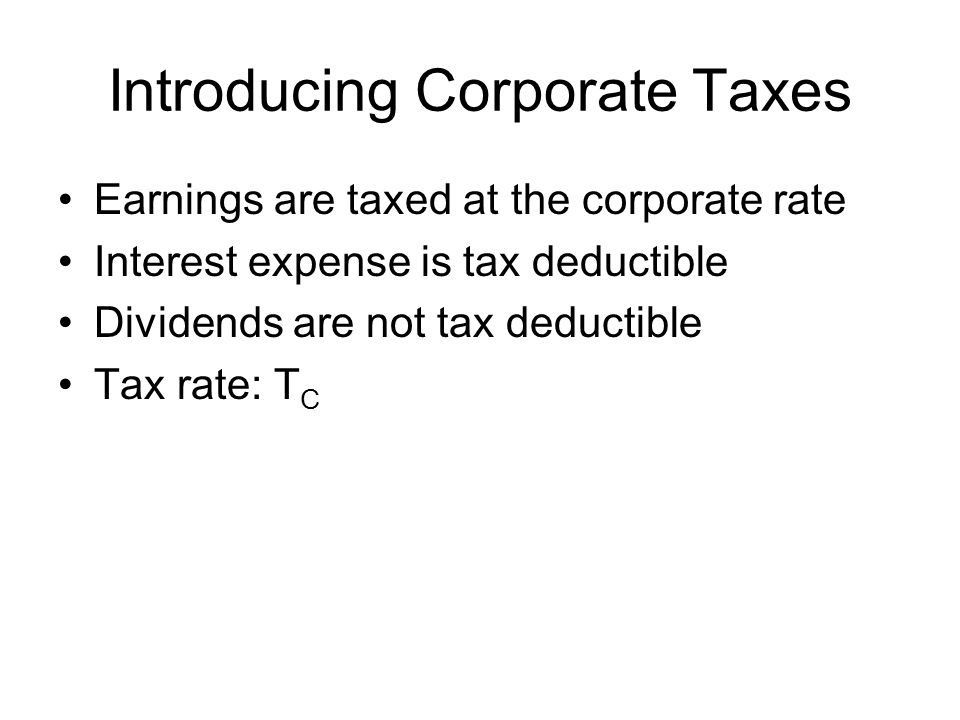 Introducing Corporate Taxes