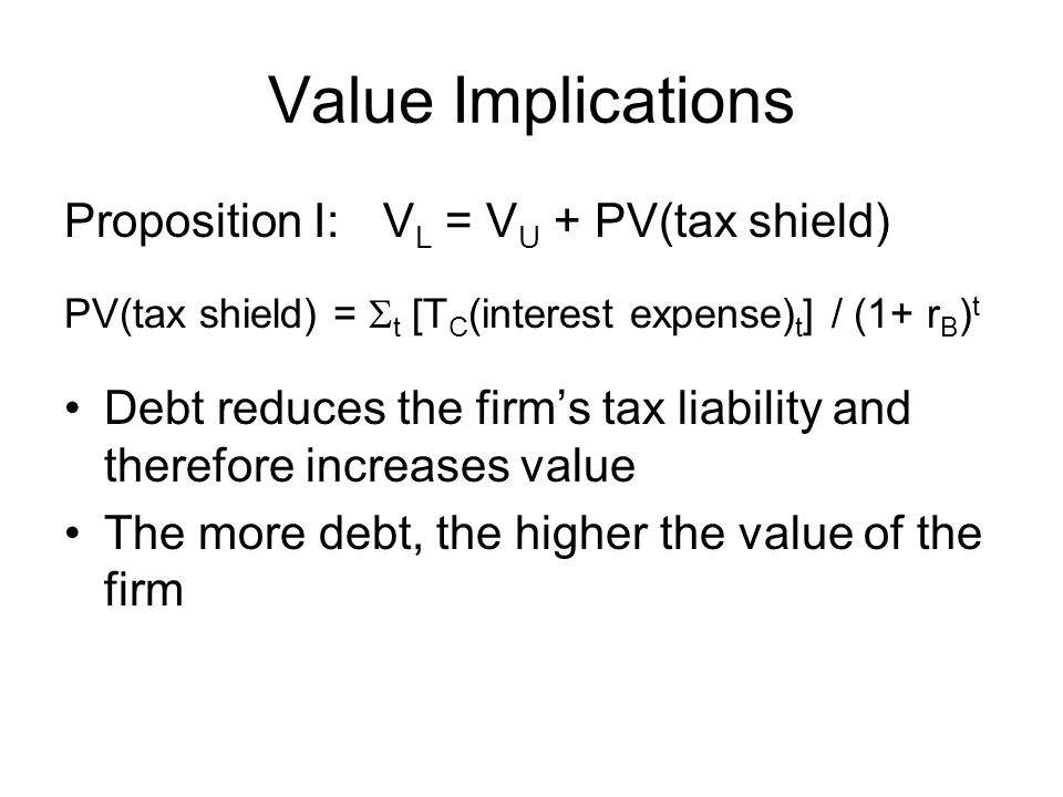 Value Implications Proposition I: VL = VU + PV(tax shield)