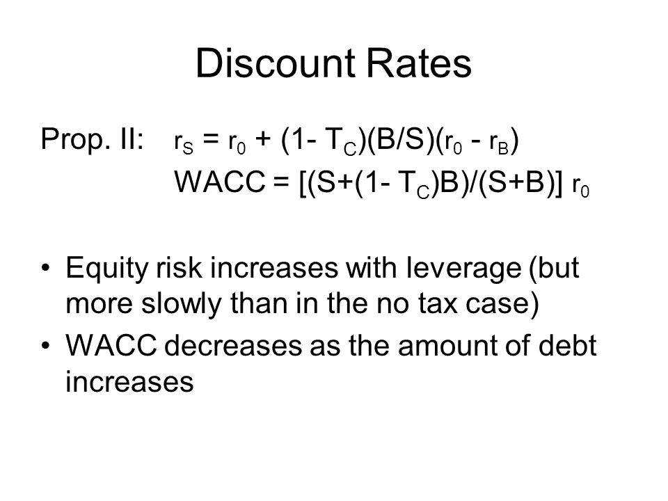 Discount Rates Prop. II: rS = r0 + (1- TC)(B/S)(r0 - rB)