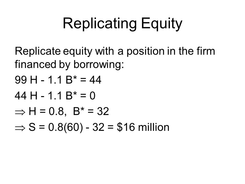Replicating Equity Replicate equity with a position in the firm financed by borrowing: 99 H - 1.1 B* = 44.