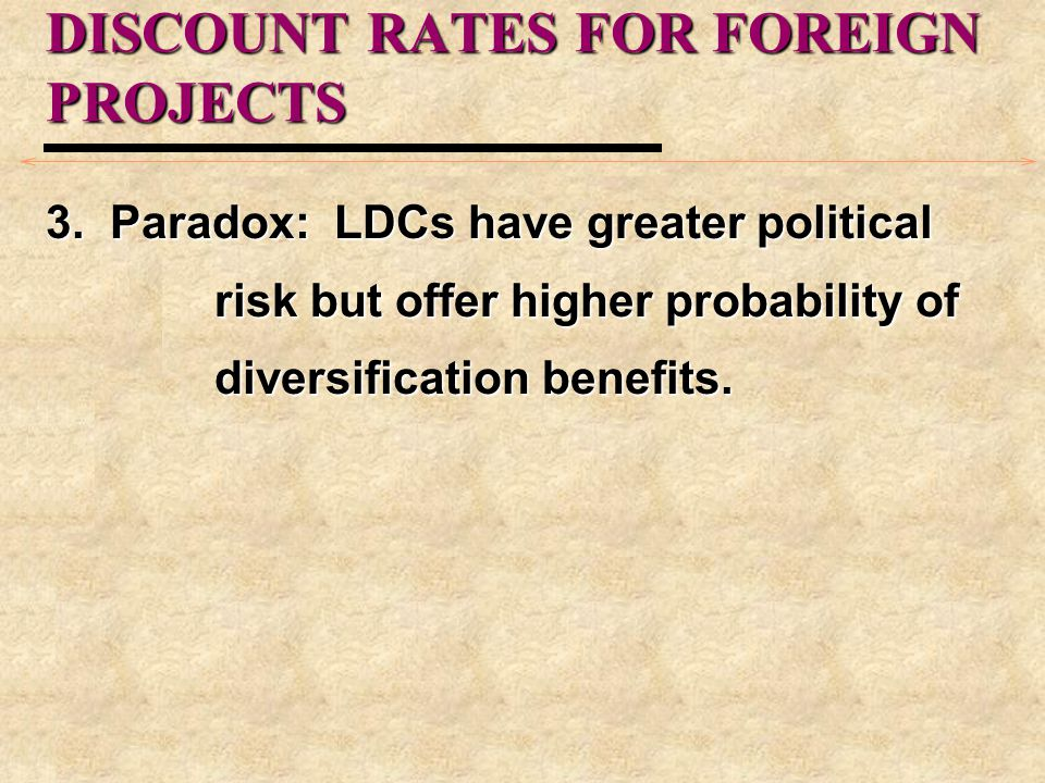 DISCOUNT RATES FOR FOREIGN PROJECTS