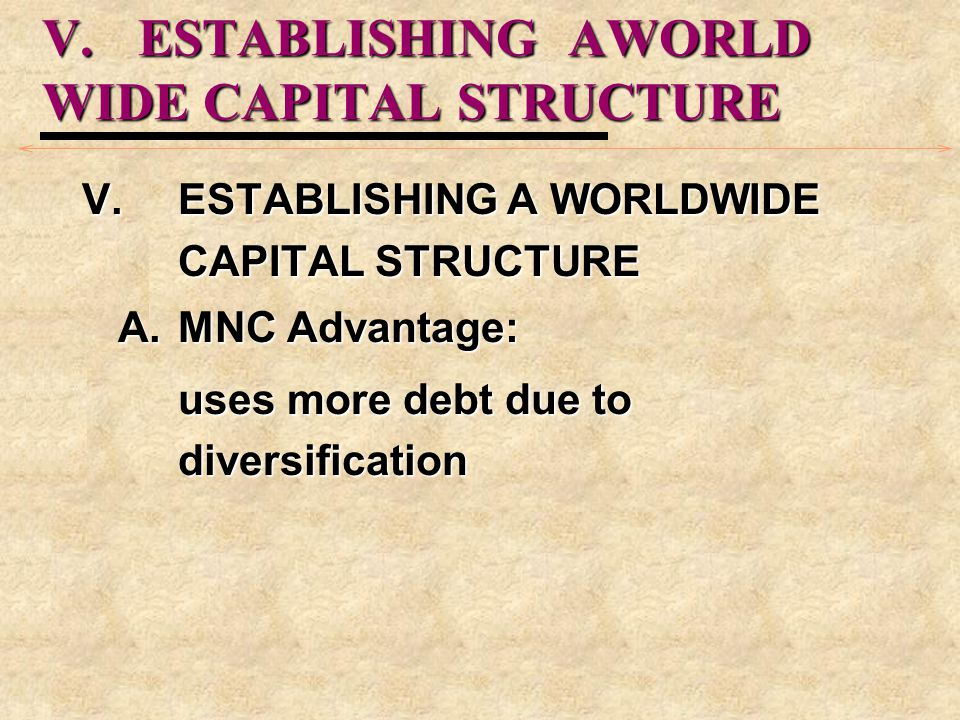 V. ESTABLISHING AWORLD WIDE CAPITAL STRUCTURE