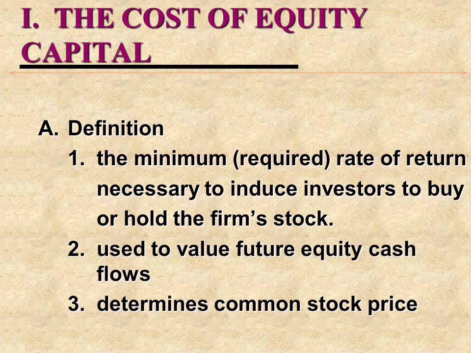 I. THE COST OF EQUITY CAPITAL
