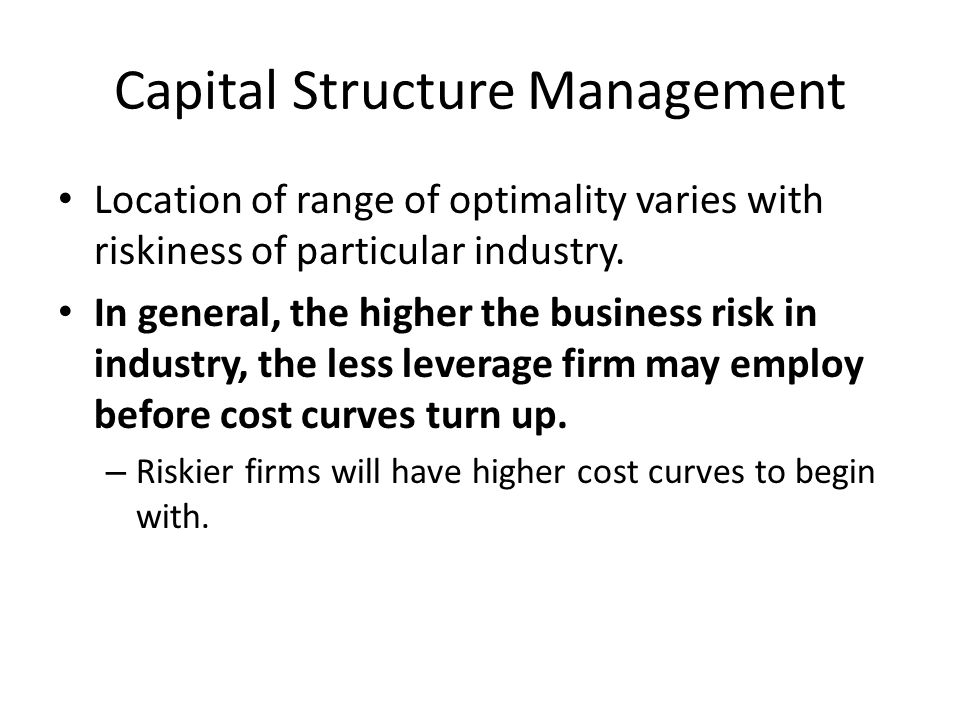 capital structure management How does telus' capital structure compare with other telcos bondholders shareholders 2 management shakeup possible without an action plan relies on accurate forecasts and a stable economy cash reserves fall as debt is paid preserves cash in the short term.