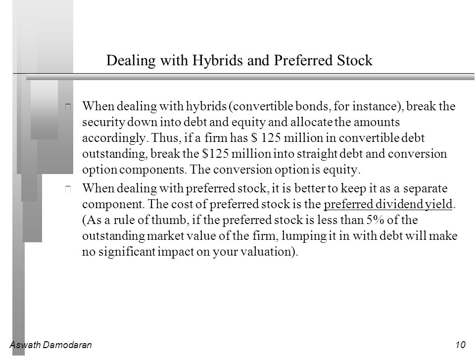 Dealing with Hybrids and Preferred Stock